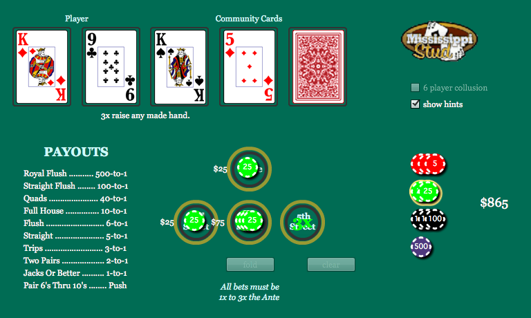 play free mississippi stud poker game