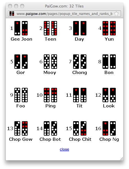 pai gow tiles names